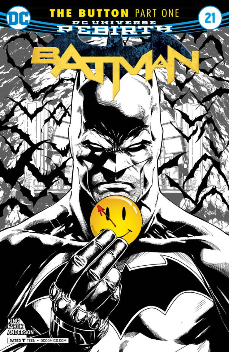 """The title of the story arc starting in Batman #21 this week is entitled """"The Button"""" and Watchmen fans should already know this is where the DC crossover event starts. The cover says it all, Batman and the Flash are involved in a mysterious button Batman discovered in his cave back in May 2016. Finally some answers, or at the very least the start of something much bigger!"""