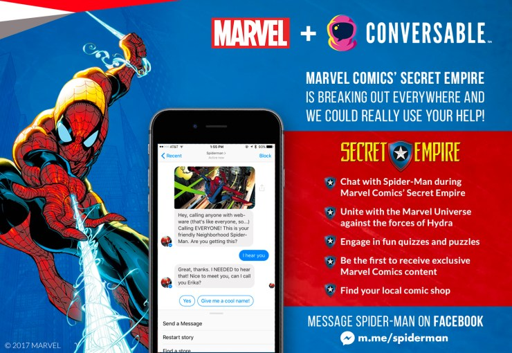 Marvel Comics' Chatbot Allows Fans to Converse with some of their Favorite Marvel Super Heroes and Become Part of the Story