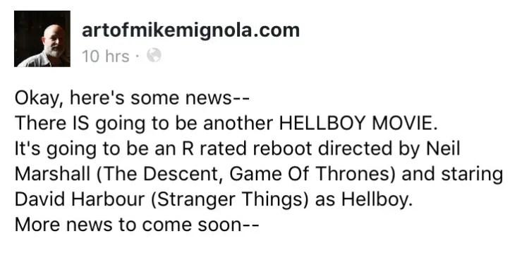Mike Mignola announces 'Hellboy' reboot
