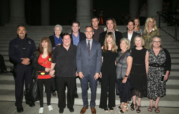 Adam West Bat-Signal Tribute At LA City Hall