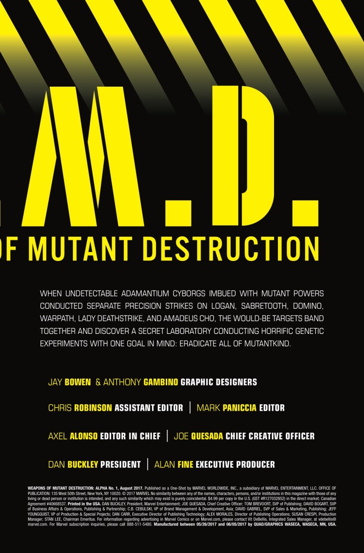 Marvel Preview: Weapons of Mutant Destruction #1