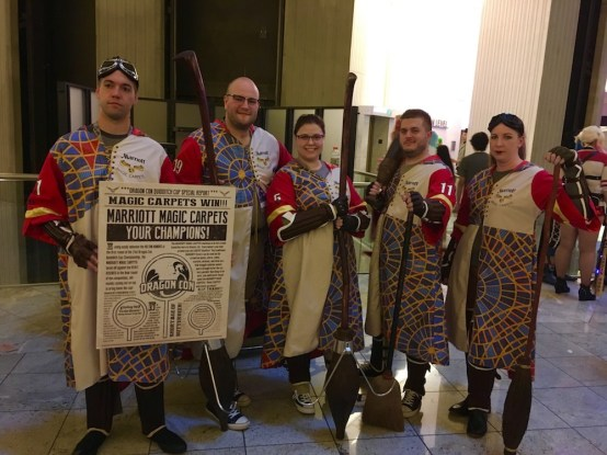 The Marriott carpet is the most popular symbol of Dragon Con with attendees, so lots of folks use it in costumes. I love this mash up with Harry Potter Quidditch uniforms.