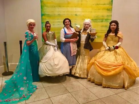 Disney Princesses Elsa, Tiana, Belle, and Belle, with bonus Candlestick