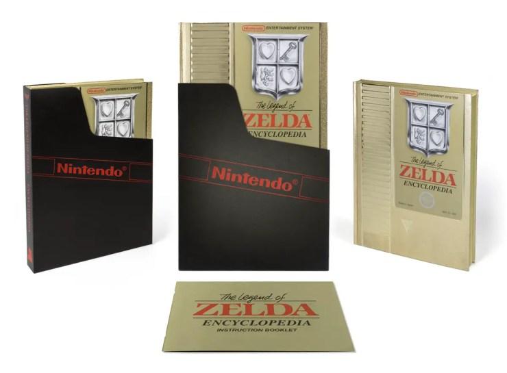 The Legend of Zelda Encyclopedia Deluxe Edition looks like a giant golden NES cartridge