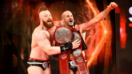A distraction from SmackDown Live's New Day allows Sheamus and Cesaro to steal the tag team championships back from The Shield.