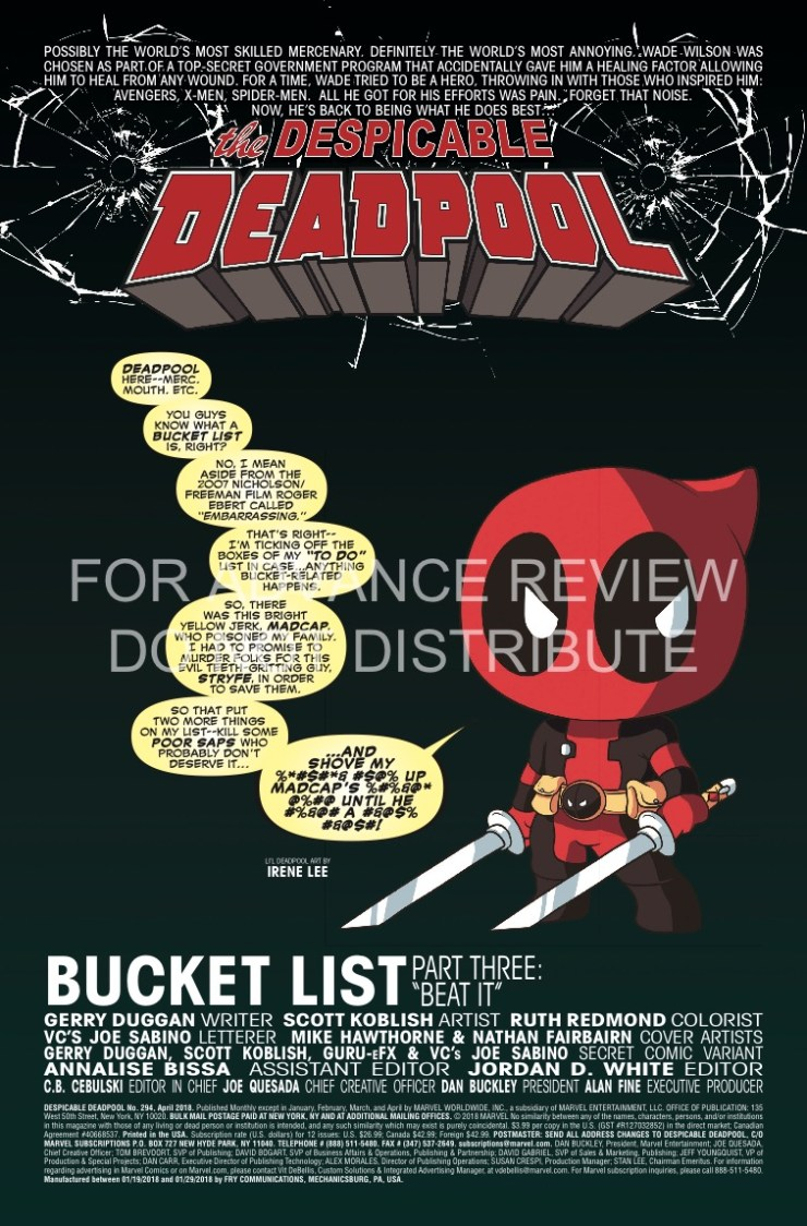 Marvel Preview: Despicable Deadpool #294