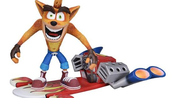 NECA's second release in the eagerly anticipated line of Crash Bandicoot action figures is a deluxe Crash with his massive hot rod hoverboard!