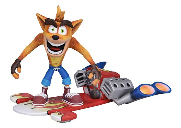 "NECA's Crash Bandicoot - 7"" Scale Action Figure -Deluxe Crash with Hoverboard"
