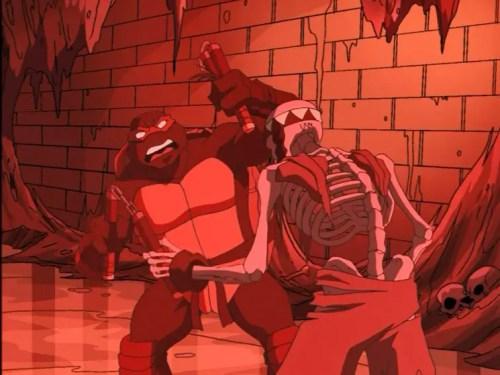 Raphael fighting skeleton