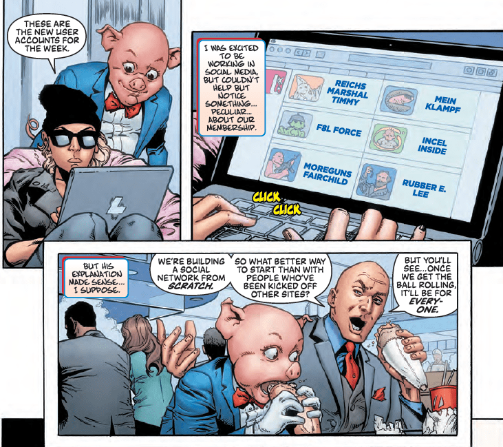 Lex Luthor/Porky Pig #1 has a message about online racism, incels, and pro-gun communities