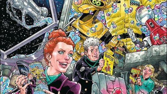 By now, anyone who was a fan of the original Mystery Science Theater 3000 show knows about the successful, Kickstarter-fueled reboot starring Jonah Ray, Felicia Day, Patton Oswalt, and a host of others. I'm not sure what I expected from the first issue of the accompanying comic book, but it certainly wasn't what we got. Rather than seeing the hilarious things that must go on in the Satellite of Love in between movies, or the hilarious adventures of Tom Servo and Crooooooooow, creator Joel Hodgson brings us a new twist on the classic MST3K format: throwing our intrepid captives into the very pages of Golden Age comics. We have comic sign!