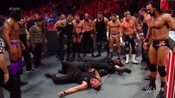To close out what was already the wildest episode ofMonday Night Raw, The Shield returned from their temporary arrest only to be completely dismantled by nearly every heel member of theRaw roster.