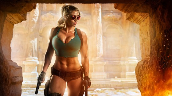 This Lara Croft cosplayer is ripped -- and definitely doesn't skip leg day.