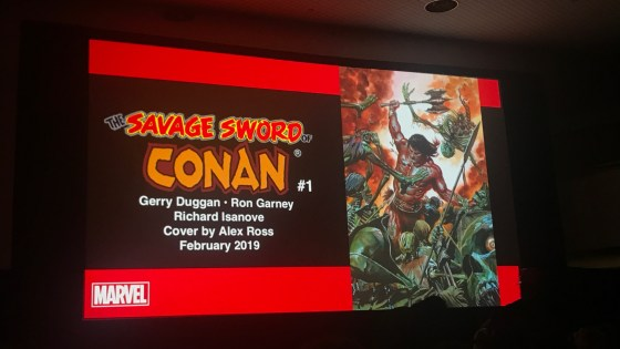 With the looming finale of Infinity Wars, many readers wonder where Gerry Duggan's tenure with Marvel would go next.  Wonder no more, as Marvel unveiled Savage Sword of Conan at New York Comic Con, written by Gerry Duggan and drawn by Ron Garney with covers by Alex Ross.