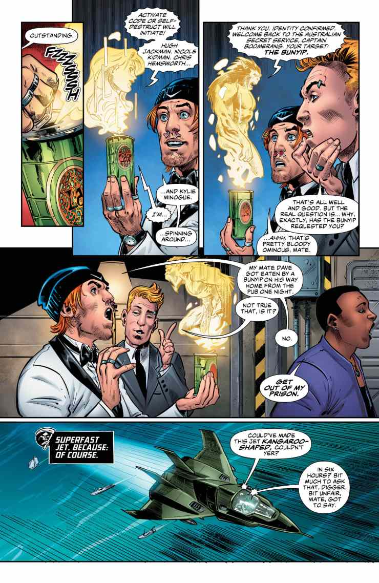 A fun one-shot story about Captain Boomerang that embraces the character's inherent silliness with an equally silly spy-thriller parody.