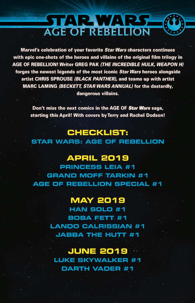 New York, NY--January 16, 2019--Marvel's celebration of Star Wars characters continues this April, with epic one-shots of heroes and villains of the original film trilogy in AGE OF REBELLION!