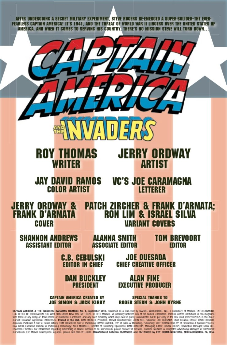 Marvel Preview: Captain America & The Invaders: The Bahamas Triangle #1
