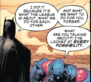 Could Batman kill a hero for the greater good? We find out in Justice League #25