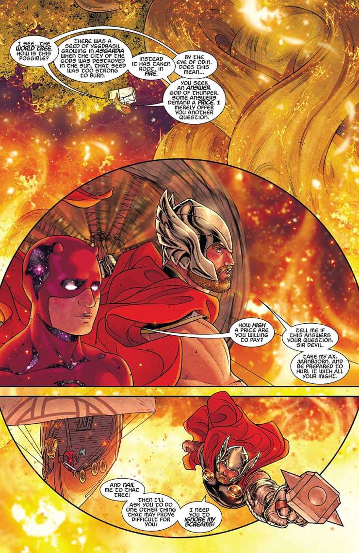 In this penultimate issue of the Marvel comics event The War of the Realms, major shifts take place in the greater battle on Midgard for the fate of the realms themselves. Malekith's forces, left behind by their leader, are struggling to deal with the combined forces of the heroes of Earth and the light elves, dwarves, and Asgardians who have joined them. With one stroke, however, Malekith can bring the whole thing crashing down around them by baiting Thor into making a decision that could cost the side of good the entire war.