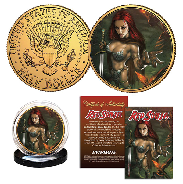 Get presidential with these Red Sonja J.F.K. Half-Dollar collectible coins