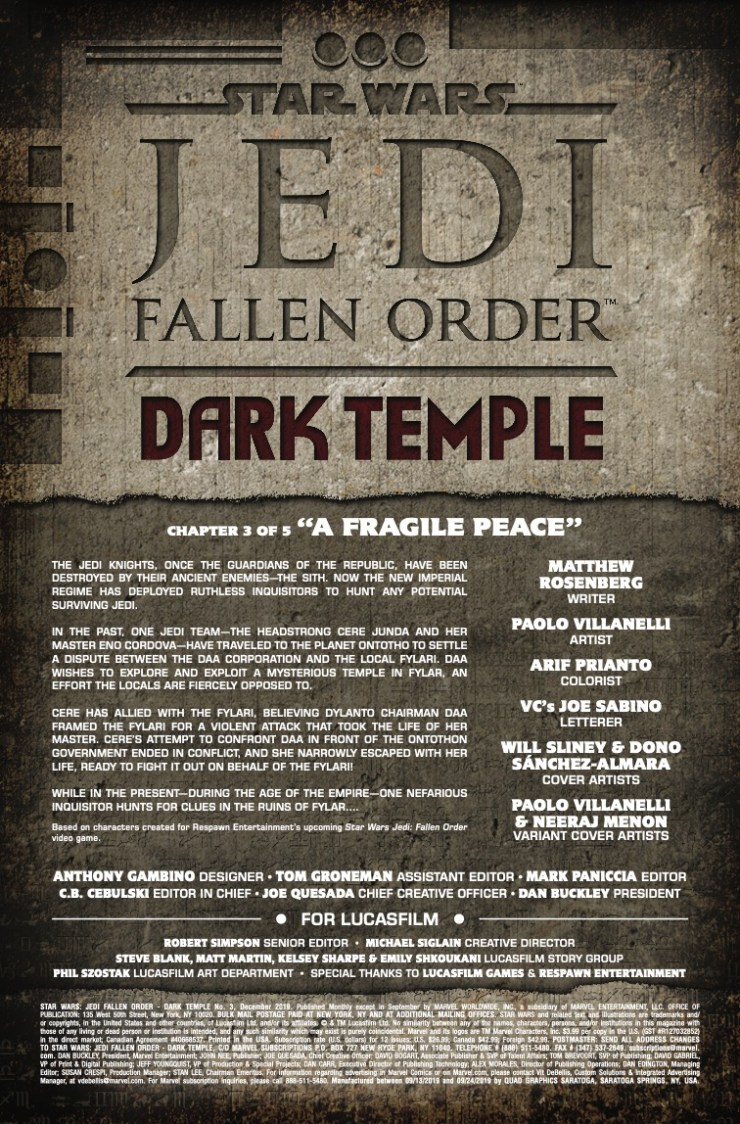 Marvel Preview: Star Wars: Jedi - Fallen Order, Dark Temple #3