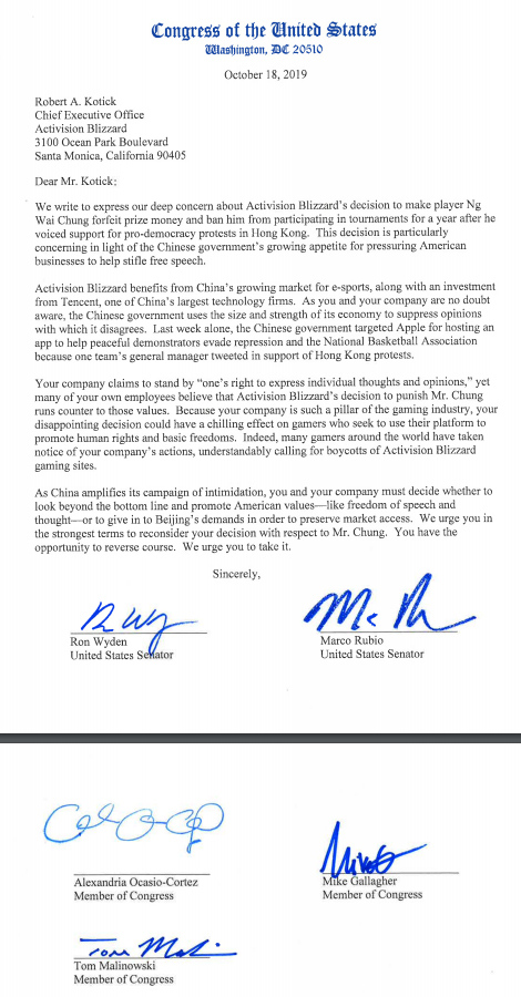 Alexandria Ocasio-Cortez, Marco Rubio and other US politicians write letter denouncing Blizzard for its actions against Blitzchung