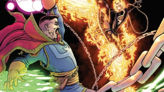 Last issue we saw Dr. Strange come for Johnny Blaze as he broke Mephisto out from the Dr.'s prison; now we see the face-off between these two along with the Hearts of Darkness reunion of Danny Ketch, Punisher, and Wolverine.  Lot of Hero vs Hero battles and revelations.