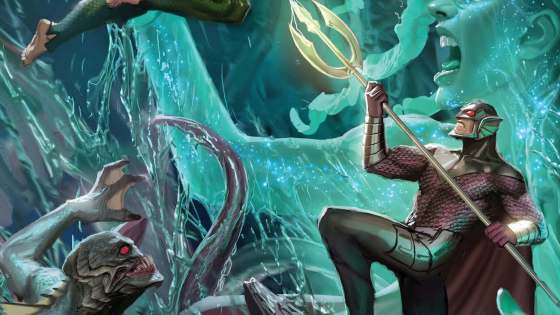 Underwater fishticuffs! It's a battle royal as Orm's army, a bloodthirsty elemental,and Arthur go fin-to-fin-to-fin over the future of Atlantis's heir apparent. Alarm bells are ringing, and Mera better wake up soon, lest the kingdom come undone!