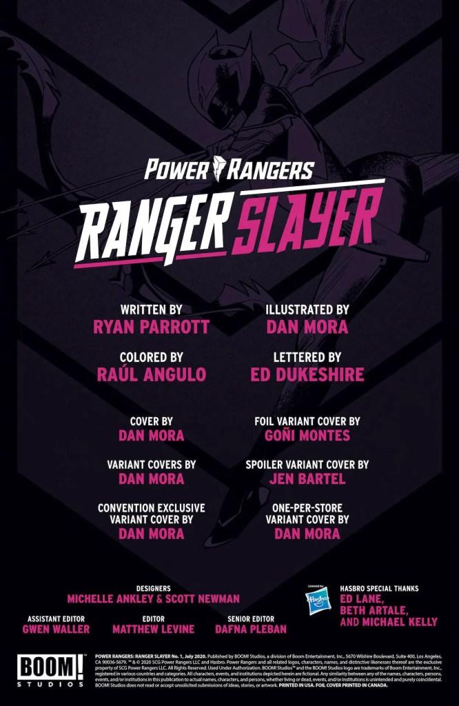 BOOM! Preview: Power Rangers: Ranger Slayer #1