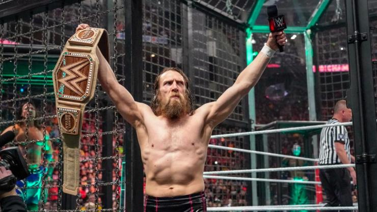 Daniel Bryan with his eco-friendly WWE Championship