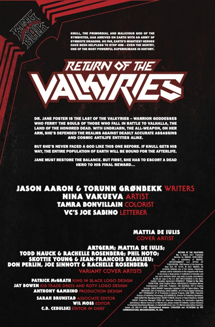 Marvel Preview: King In Black: Return of the Valkyries #1