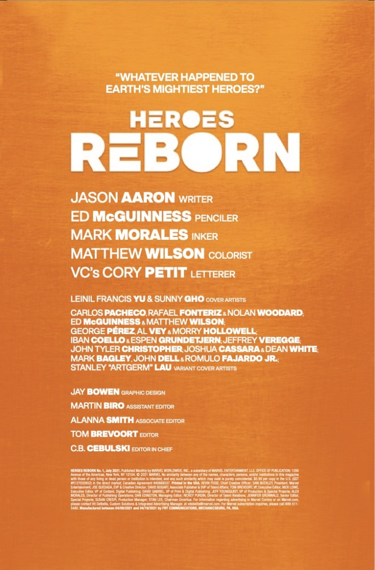 Marvel Preview: Heroes Reborn #1