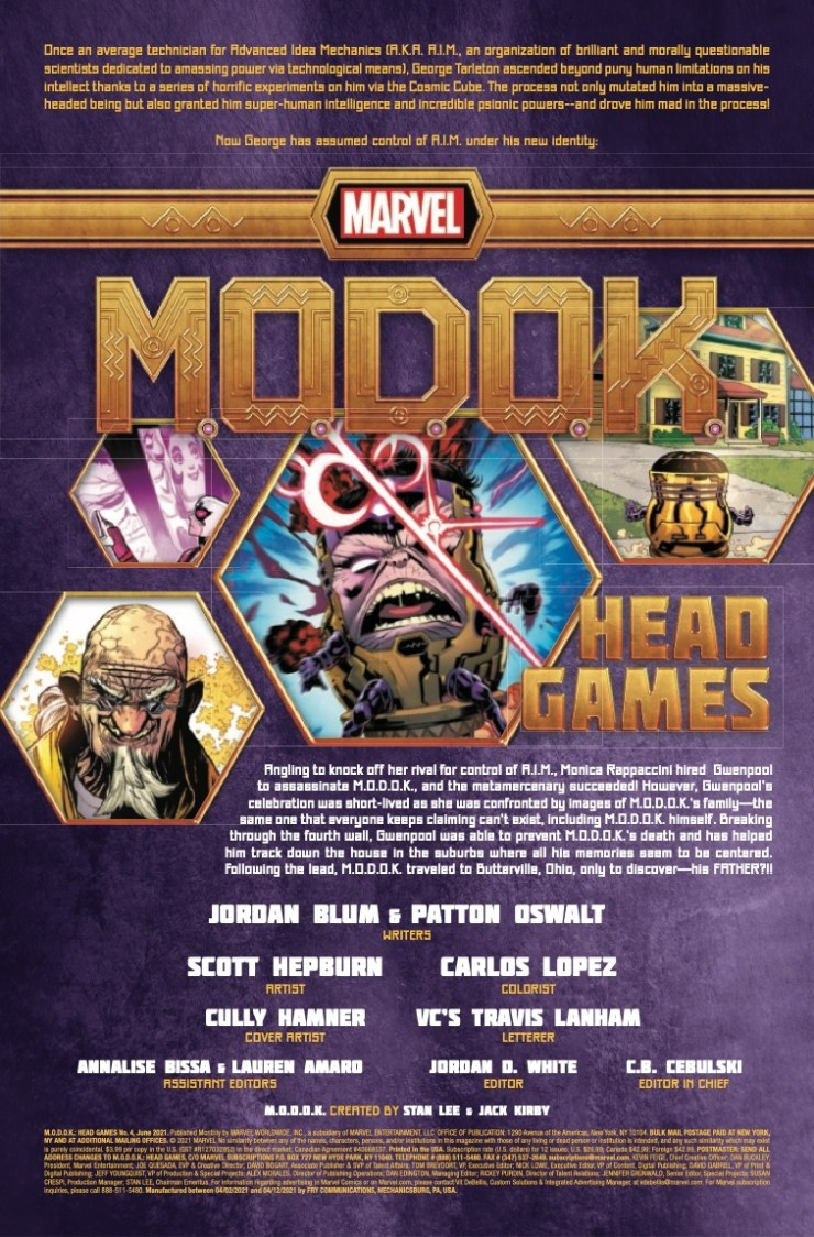 M.O.D.O.K.: Head Games (2020-) #4 (of 4)