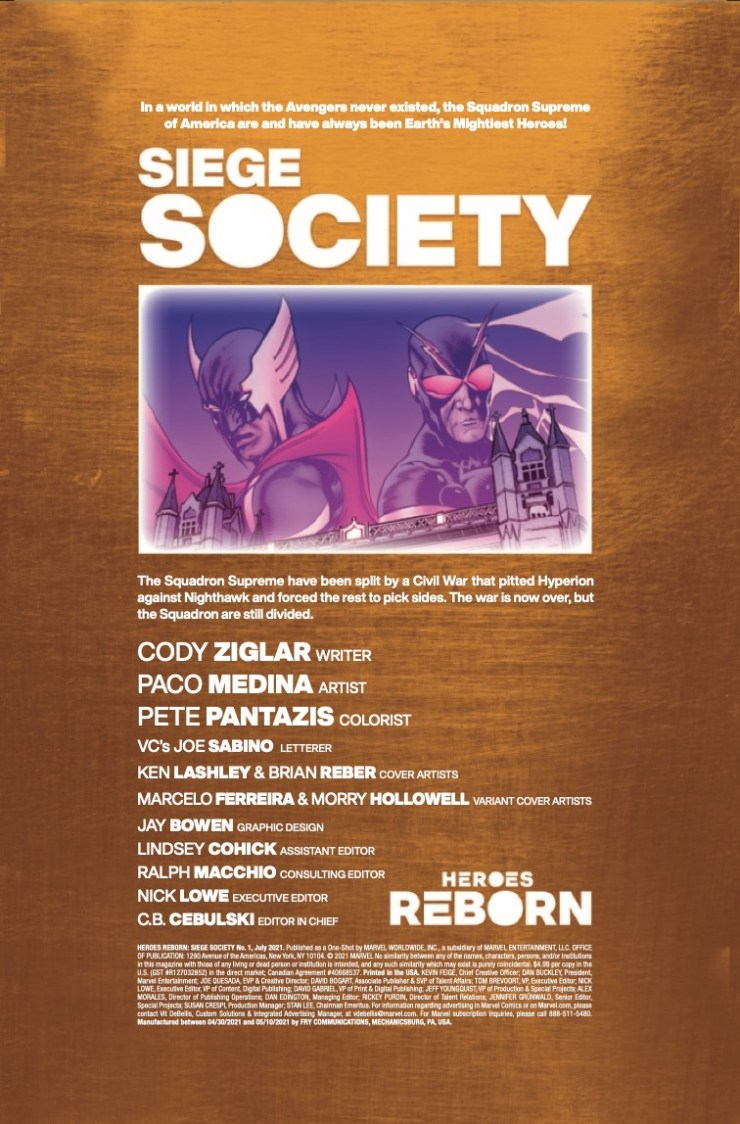 Marvel Preview: Heroes Reborn: Siege Society #1