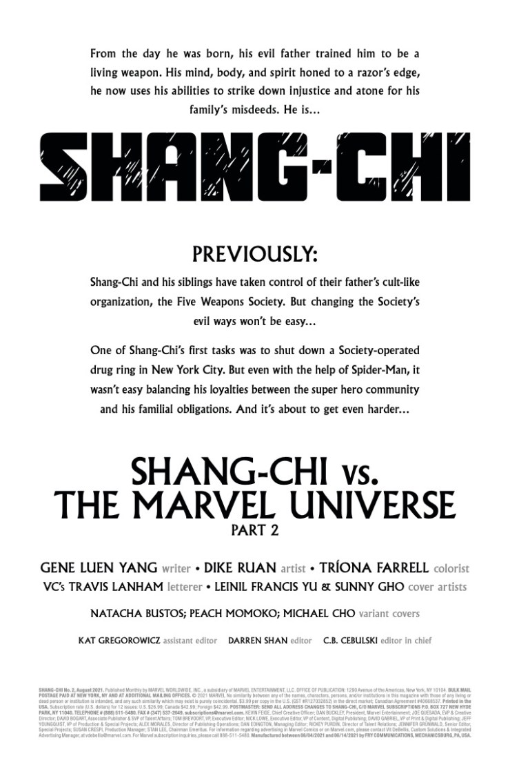 EXCLUSIVE Marvel Preview: Shang-Chi #2