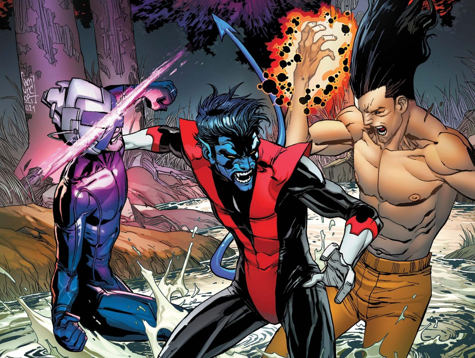 Nightcrawler tries to break up a fight between Professor X and his son Legion.