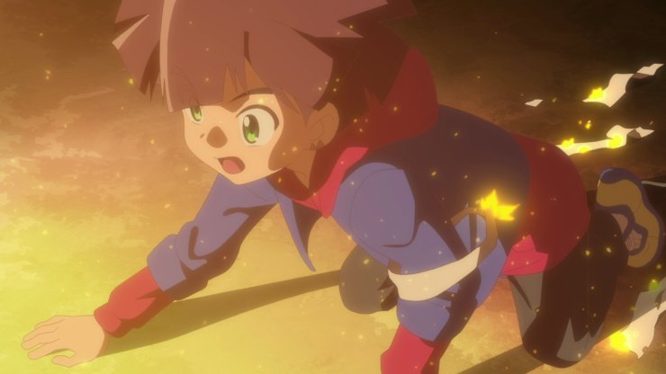 Digimon Ghost Game screenshot - Hiro and flames