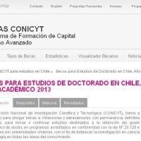 Becas para Estudios de Doctorado en Chile, Año Académico 2013