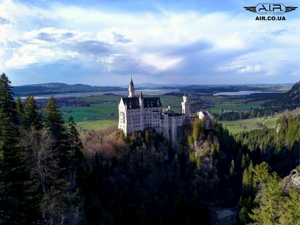 Neuschwanstein castle from above taken with Mavic Pro quadcopter