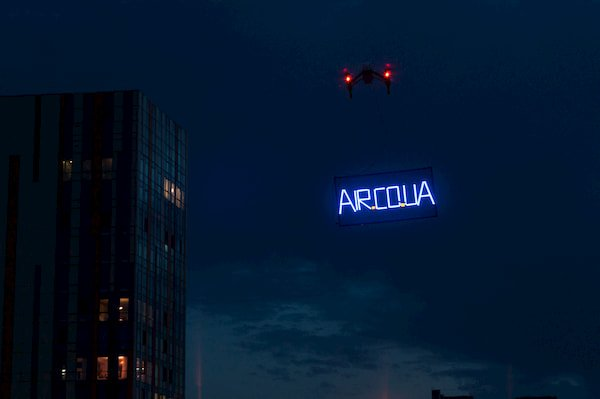 Drone LED advertisement in Dnipro