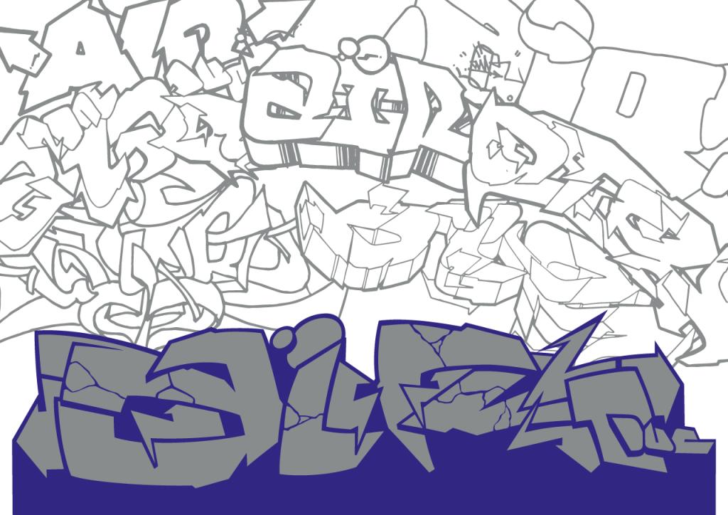 Sérigraphie sur papier blanc avec graffiti imprimé bleu et gris | Air1duc