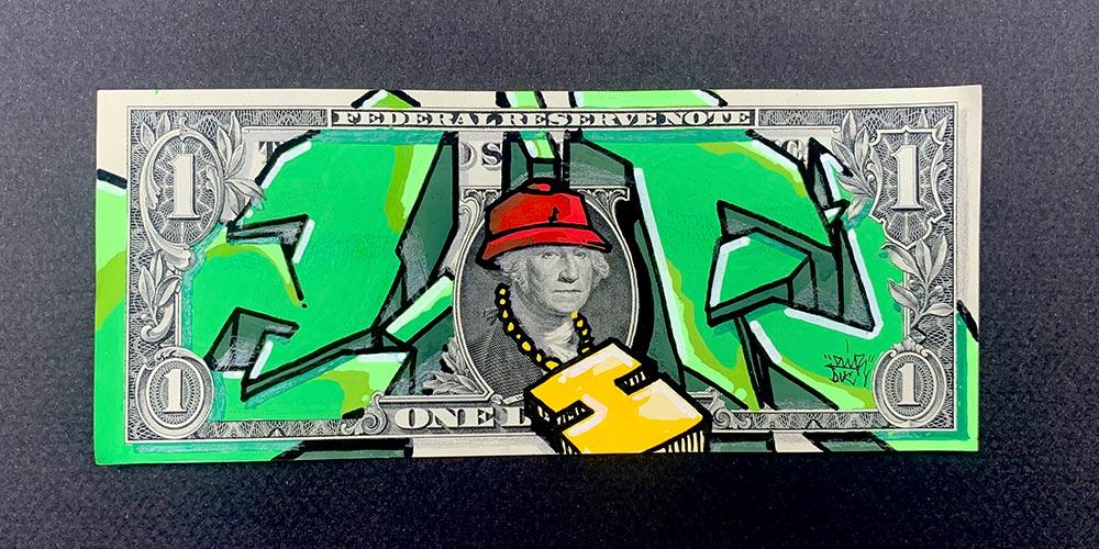 Graffiti sur dollar américain | Air1Duc - Artiste peintre
