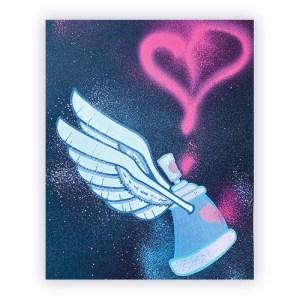 Dessin graffiti bombe de peinture coeur sur papier | Air1duc