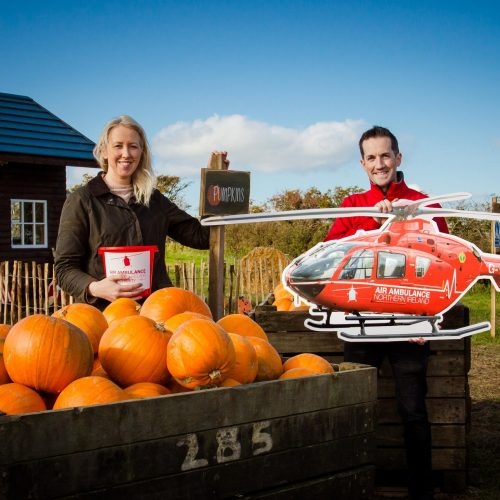 Kirsten from Maxwell's Pumpkin Patch, Castlederg along with Damien McAnespie, Area Fundraising Manager for Air Ambulance NI.