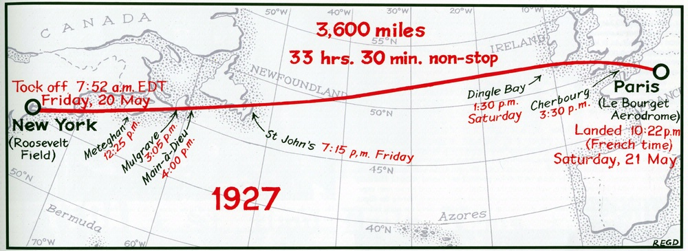 Charles Lindbergh flat earth route