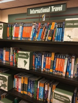 Reading while abroad - the travel section of a bookshop