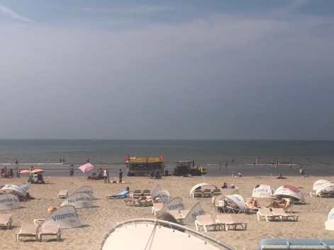 The tractors on the beach