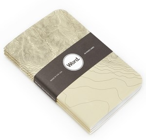 notebook with terrain map lines