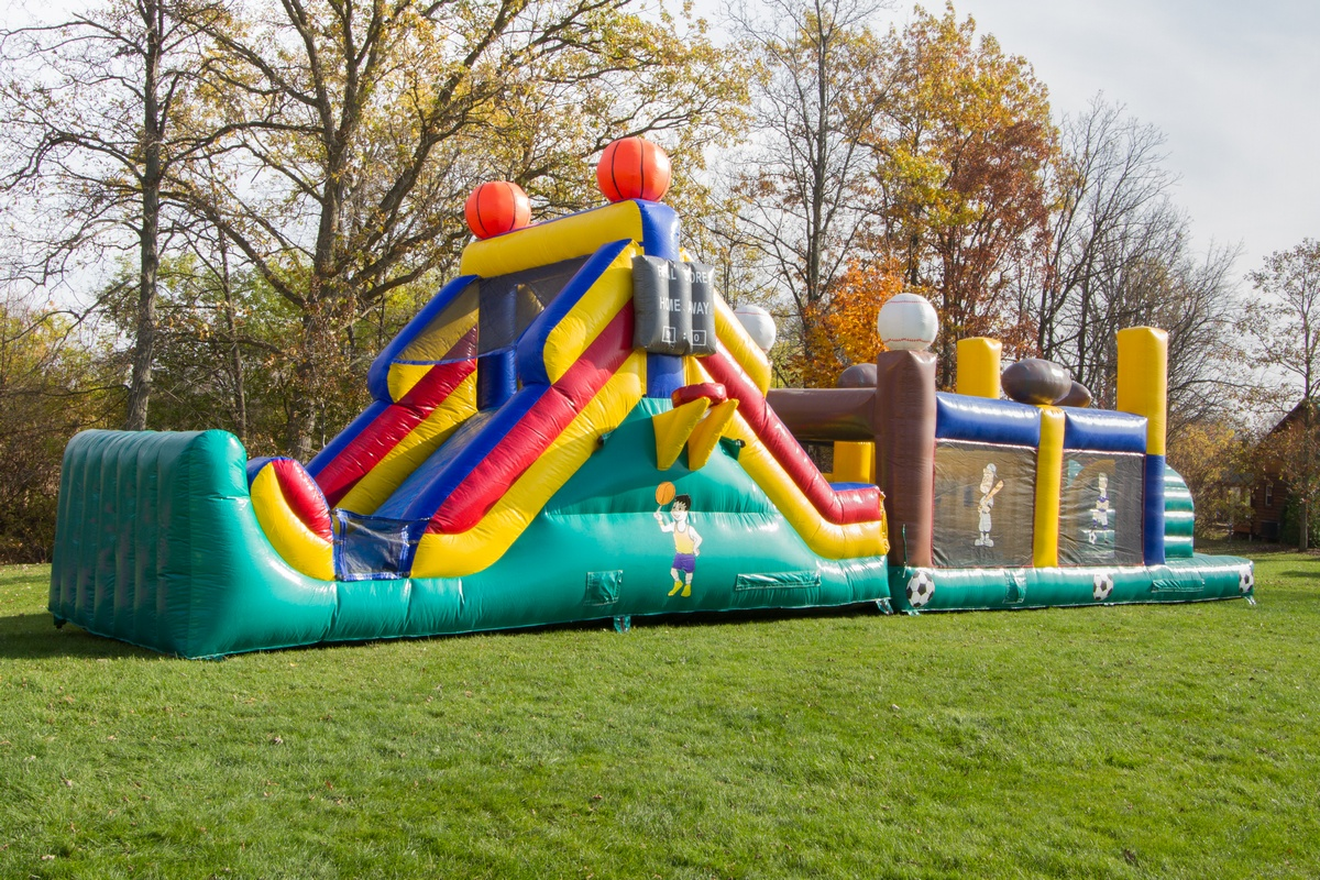 50 ft Sports Obstacle Course  Air Bounce Inflatables