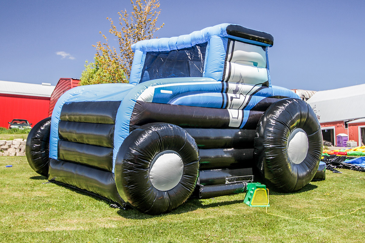 Tractor Bouncer  Blue  Air Bounce Inflatables  Party